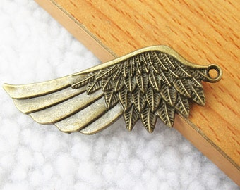 6 pcs 22x57mm Antique Bronze Lovely Heavy Huge Feather Wing Charm Pendant Jewelry Findings A1001-8A