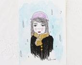 Raindrops on Rita - Original Watercolour + Ink Pen Art Drawing - Size A5 - (unframed)