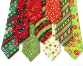 12 Christmas Neck Ties - Boy, Toddler, Child & Baby- Holiday Photo Prop- Adjustable- (Green, Red, Trees, Snowflakes)