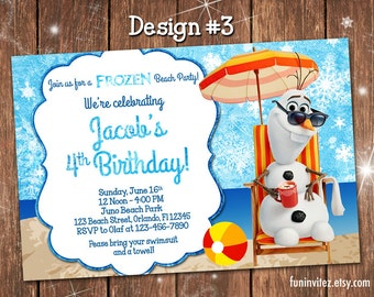 Frozen - Olaf in Summer - CUSTOM Birthday Party Boy Girl Photo Invitations Anna Elsa - Printable