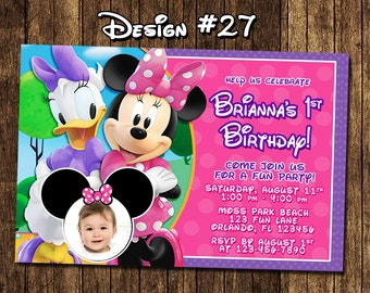 Minnie Mouse Bowtique Clubhouse First Birthday 1 2 3 Photo Invitations - Printable