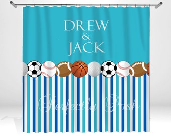 Marvelous Sports Personalized Custom Shower Curtain Monogram With Name Or Initials  Perfect For Any Bathroom