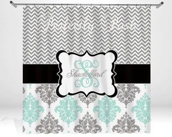 Damask and Chevron Personalized Custom Shower Curtain Monogram with Name or Initials perfect for any bathroom
