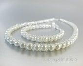 SALE : Kids Pearl Jewelry, Pearl Flower Girl Jewelry Set, Junior Bridesmaid Jewelry, Girls White Pearl Necklace Bracelet Set