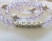 Personalized Purple with Gray Swarovski Pearl Rosary