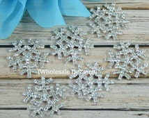 Snowflake Rhinestone Flat Back Embellishments - 25mm - Metal Base - Winter Frozen Snow Flakes - RSF-003