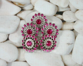 Hot Pink Rhinestone Button - 21mm Starburst - Acrylic