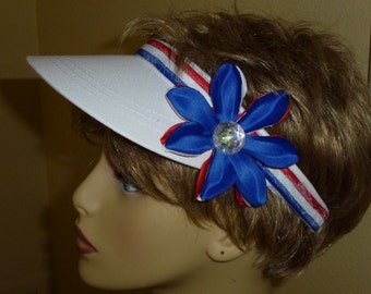 Red White Blue Fourth of July Sun Visor, Fourth of July Ladies Trendy Red White and Blue Sun Visor,