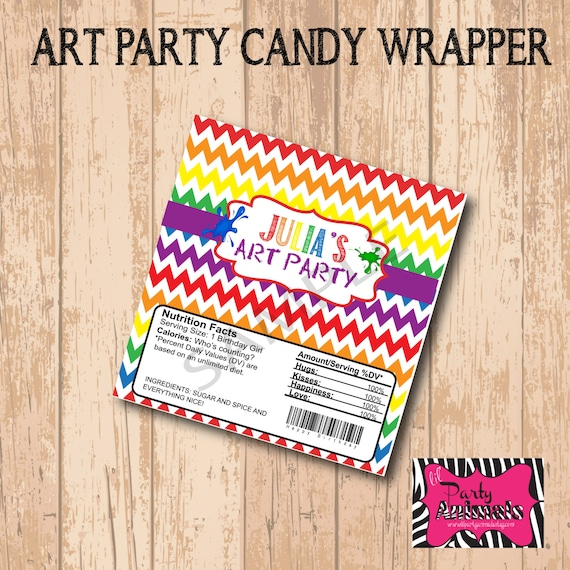 Diy printable art candy bar wrapper by lil party animals catch my party for Diy candy bar wrapper