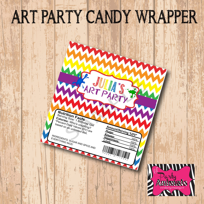 Diy printable art candy bar wrapper for Diy candy bar wrapper