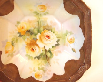 Antique Nippon Bowl with Yellow Roses | Hand Painted Nippon Noritake Morimura Made in Japan Circa 1911-1921