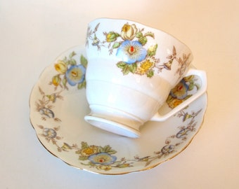 "Vintage Teacup Set English Bone China Radfords Fenton ""Mayfair"" Tea Cup with Blue Morning Glories and Yellow Roses Mid Century Gift for Her"