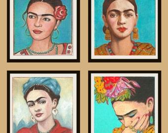 Sale Frida Kahlo Gift Set of Four Prints Mexican Folk Art Latin Decor Hispanic Wall art