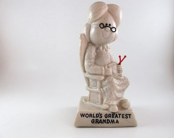 Vintage Collectible Figurine Worlds Greatest Grandma by Russ & W. Berries Co Mother Day Figurine Grandma Gift Plastic Funny Figurine