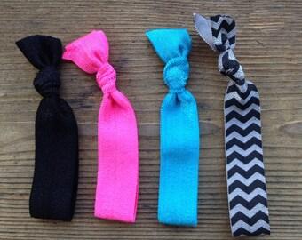 Elastic Hair Ties for Runners - Diva Colors - Set of 4