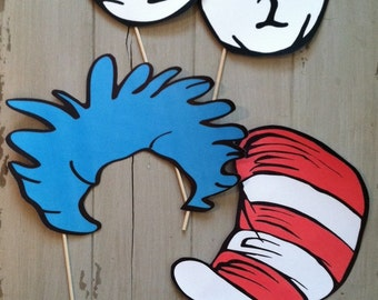 Dr Seuss Inspired Cat in The Hat Photo Booth Party Props