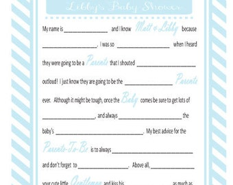 Vintage Rocking Horse Baby Shower Mad Libs Party Game (pdf file)
