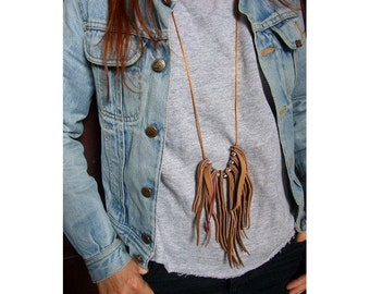 natural tan  leather fringes necklace pink goose feather