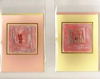 Handmade, abstract fibre art cards. Textile art. ' Place'