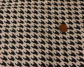 """FABRIC SALE! 4 + Yards Black and White Houndstooth Cotton Print Fabric 44"""" Wide New Old Stock Vintage"""