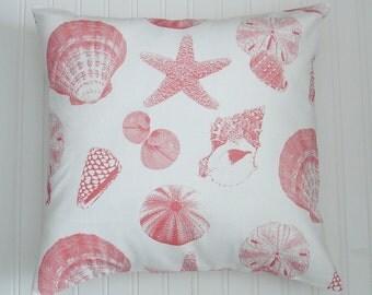 Throw Pillows Coral Pillows 16 x 16 inch Pillow Covers Beach Cottage  Shells  Decorative Pillows Accent Pillows
