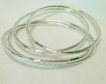 Sterling Silver Bangles Set of 4