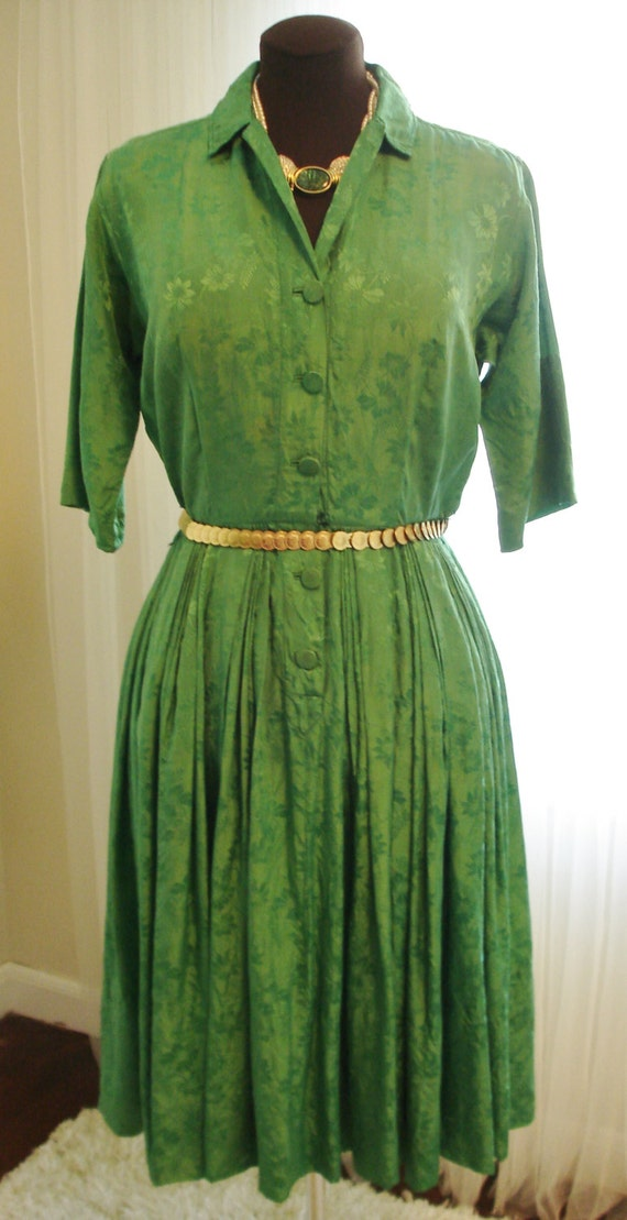 Emerald green silk pleated skirt shirt dress 39 by thetealdoor Emerald green mens dress shirt