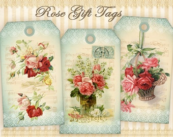 Vintage roses Gift tags on Digital collage sheet Printable sheet Digital tags Shabby flower tags Shabby roses Paper goods Paper craft
