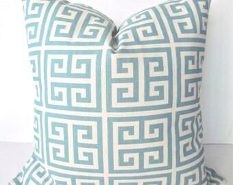 Blue PILLOW SPA BLUE Pillows Blue Throw Pillows Blue Decorative Throw Pillows Greek Key Pillow Cover 12x16 18x18 20 Home and Living