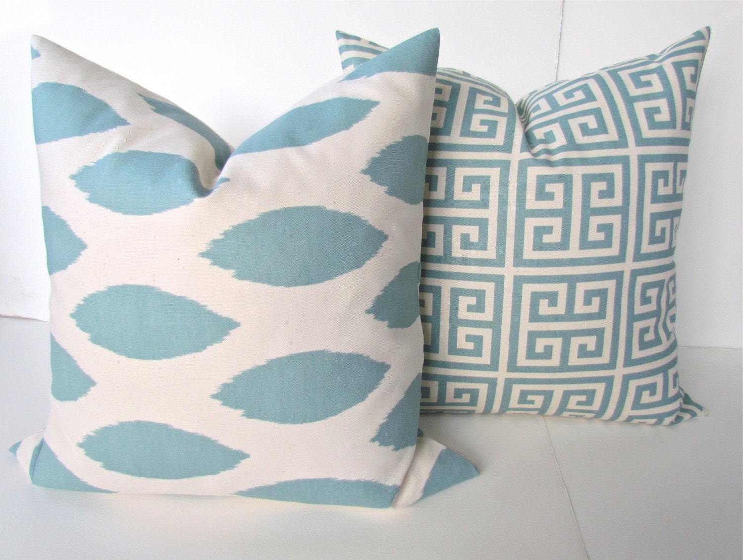 BLUE THROW PILLOWS Spa Blue Pillow Covers Blue by SayItWithPillows