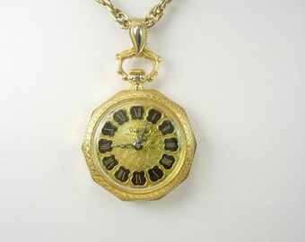 Vintage Sheffield Victorian PocketWatch Necklace Works great Anniversary Holiday