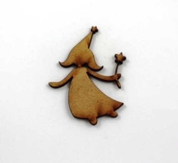 Lasercut Craft Wood Fairy– Set of 2. 55 mm Wide Fairy. Made of Craft Wood Perfect for Embellishing, Wood Crafts