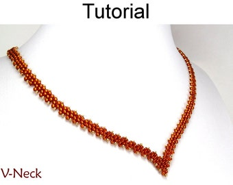 Beading Tutorial Necklace - Diagonal Peyote Sitch - Simple Bead Patterns - V-Neck #9534