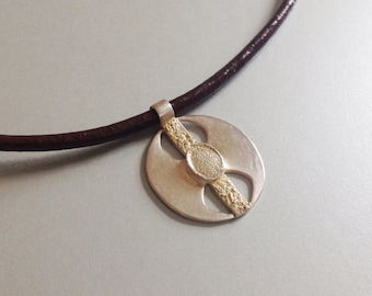 Sterling Silver Necklace. Silver Metal clay necklace .