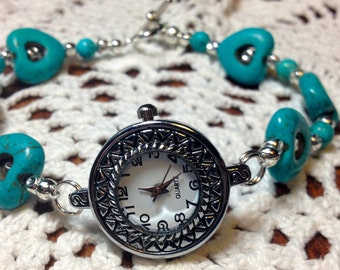Turquoise Heart Watch.