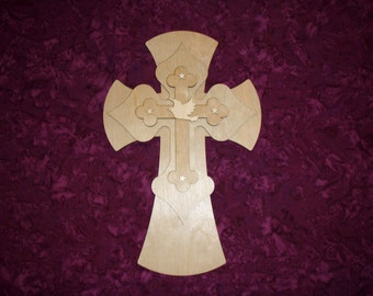 Layered Unfinished Wood Cross With Dove and Stars Stacked Wooden Crosses Part LC15 -400