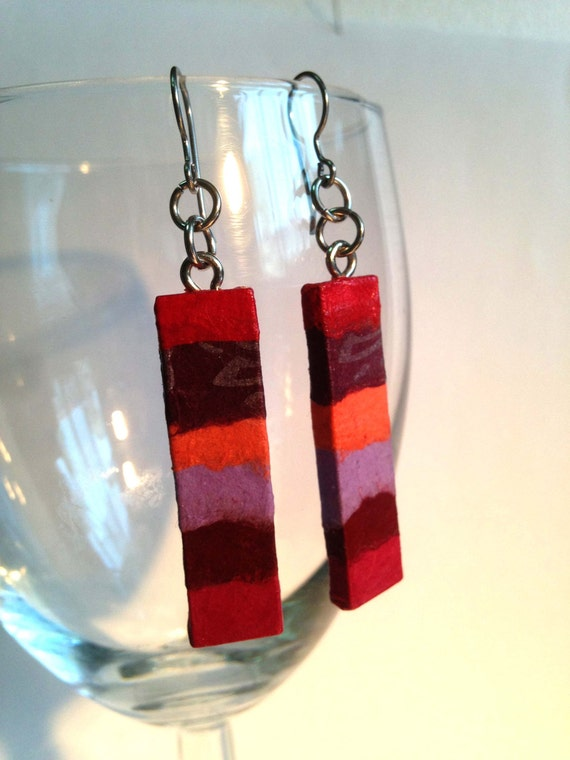 Red Purple Hanji Paper Earrings OOAK Dangle Earrings Patchwork Design Red Coral Violet Handmade Hypoallergenic hooks Lightweight