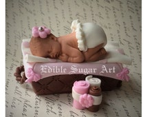 BABY SHOWER CAKE Topper Vintage baby Basket Fondant blankets baby girl or boy
