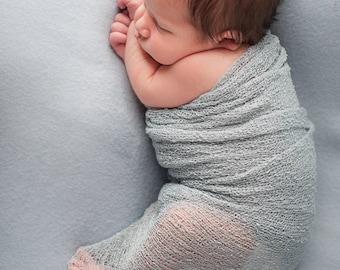 Newborn Photo Prop Set : Gray Knit Wrap with Free Headband for Newborn Photo Shoot, Maternity Prop, Newborn Photography Wrap, Infant Photo