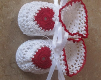 Little White and Red Heart Crocheted Booties