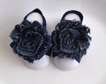 Adorable Floral Print Shabby Chic Chiffon Baby Barefoot