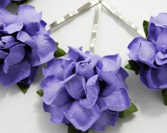 Amethyst Purple/ Indigo Floral Rose Hair Clip Set/ Bridal/ Wedding Hair Accessories/ Bridesmaid Bobby Pin/ Wedding Flower Pins