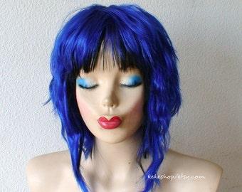 Cosplay wig. Blue Cosplay wig. Blue wig. Short blue wig. Costume wig. Cosplay wig.