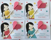 DIY - Instant Download - A Lollipop for you (Editable Valentine's Printable Digital Card - Brunette Long Hair Girl)