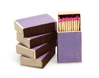 Five matchboxes, wooden matches with pink heads inside, striker from two sides, color matchsticks