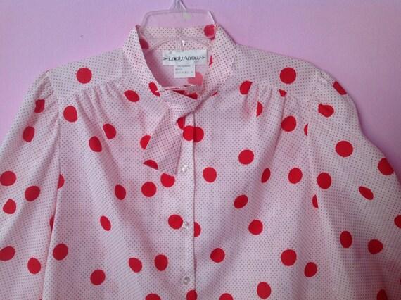 Lovely 80s red white polka dot shirt blouse top long by for White red polka dot shirt