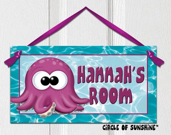 Name Door Sign, Octopus, Teal, Ocean, Sealife, Home Decor, Office Decor, School Classroom Decor