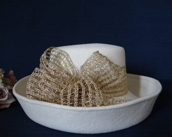 Cream Felt Hat with Gold Shimmer Bow- Wonderful Accessory - Just in Time for Spring and Summer