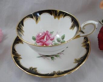 1950s Hand Painted Tuscan English Bone China Teacup Footed English Teacup and Saucer set - Stunning Tea Cup