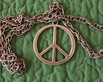"""Copper Peace Symbol on a Long Rope Chain, """"My Peace I Give Unto YOU"""", copper peace symbol, Birthday gift, Christmas gift, masculine gift"""
